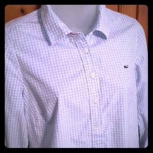 Vineyard Vines 1/4 button check oxford shirt